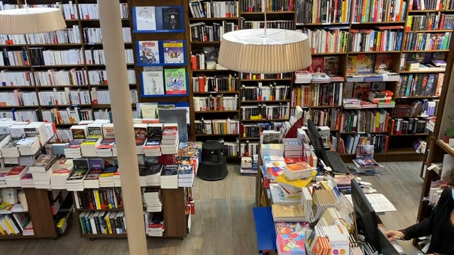 customers get their click and collect orders at paroles bookstore on november 10, 2020 in saint mande, france. bookstores like many other small... - book shop stock videos & royalty-free footage