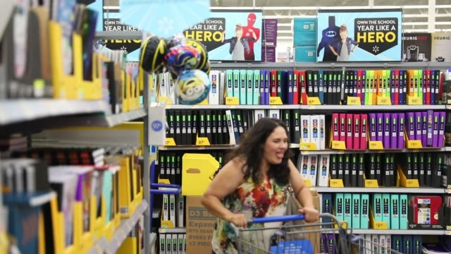 Customers shop at the back to school sale at a WalMart Stores Inc location in Burbank CA on November 22 2016 Photographer Patrick Fallon Shots wide...