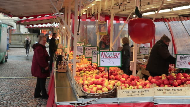 customers shopping at street market, lüneburg, germany, on wednesday, february 12, 2020. - リューネブルグ点の映像素材/bロール