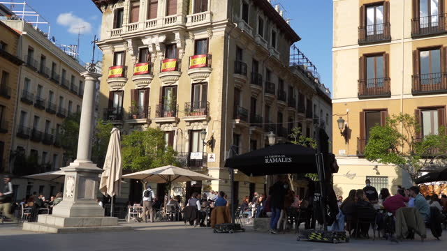 customers sitting at outside tables in restaurants and bars, in plaza mayor, madrid, spain, on saturday, april 17, 2021. european travel and leisure... - travel destinations stock videos & royalty-free footage