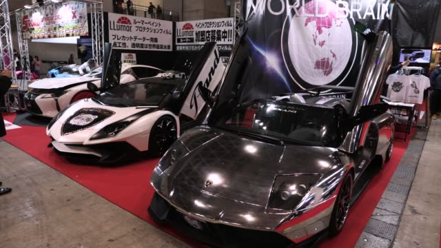 A customized Automobili Lamborghini SpA Murcielago supercar stands on display at the Tokyo Auto Salon in Chiba Japan on Friday Jan 12 Close up a...
