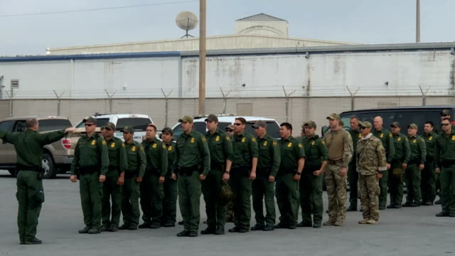 US Customs and Border Protection agents take part in a training exercise at the USMexico border on November 5 2018 in Hidalgo Texas Days before US...
