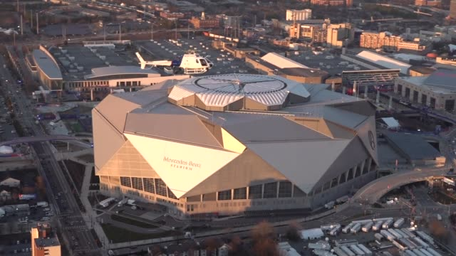 us customs and border protection air and marine operation as350 astar helicopter conducts a sunset flyby above mercedesbenz stadium in atlanta ga for... - major league soccer stock videos and b-roll footage