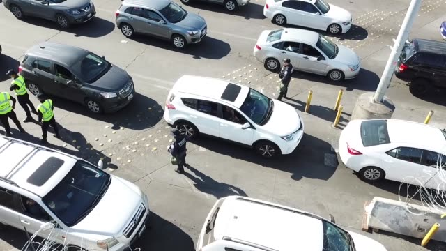 us customs and border protection and department of defense personnel secure the san ysidro port of entry against attempts to illegally enter the... - united states department of defense stock videos and b-roll footage