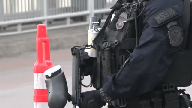 US Customs and Border Protection from the Mobile Field Force conduct an operational readiness exercise at the Gateway to the Americas International...