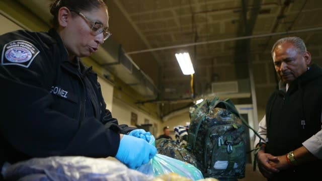 a customs and border protection officer searches packages entering the united states at the san ysidro port of entry on april 9 2018 in san ysidro... - zoll und einwanderungskontrolle stock-videos und b-roll-filmmaterial