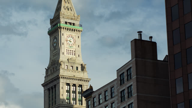 t/l pan cu customs house clock tower with clouds - clock tower stock videos & royalty-free footage