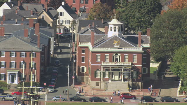 aerial customs house, sailing ship friendship of salem docked, and darby house beyond / salem, massachusetts, united states - salem stock videos & royalty-free footage