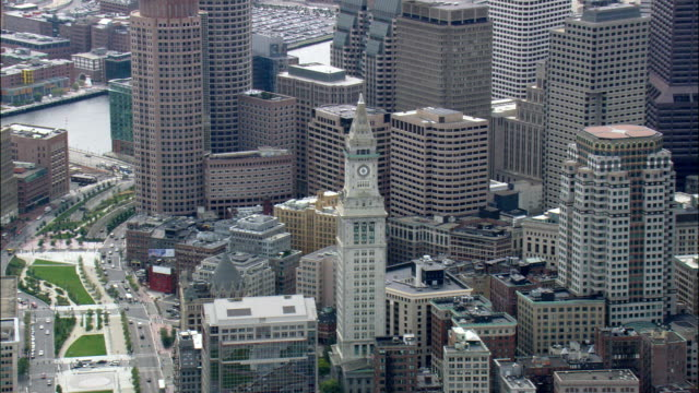 custom's house tower  - aerial view - massachusetts,  suffolk county,  united states - custom house tower stock videos & royalty-free footage