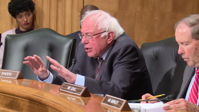 vídeos de stock, filmes e b-roll de cut down of u.s. senate subcommittee on federal spending oversight and emergency management on war powers and authorization for use of military force... - bernie sanders