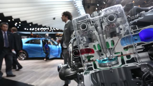 a cutaway display of an engine mechanism shows moving piston components at the bayerische motoren werke ag stand during the first preview day at the... - piston stock videos & royalty-free footage