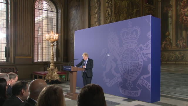 cutaways of boris johnson pm giving his first speech since the uk left the eu where he sets out what he wants in a trade deal - royal navy college greenwich stock videos & royalty-free footage