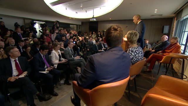 Cutaways of Chuka Umunna giving his speech at Labour split press conference explaining why he is leaving the party and forming The Independent Group