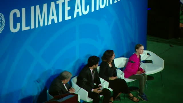 cutaways of greta thunberg climate change activist giving speech at climate action summit 2019 at un headquarters new york - united nations stock videos & royalty-free footage