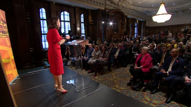 cutaways of jo swinson at liberal democrats general election campaign launch - shadow stock videos & royalty-free footage