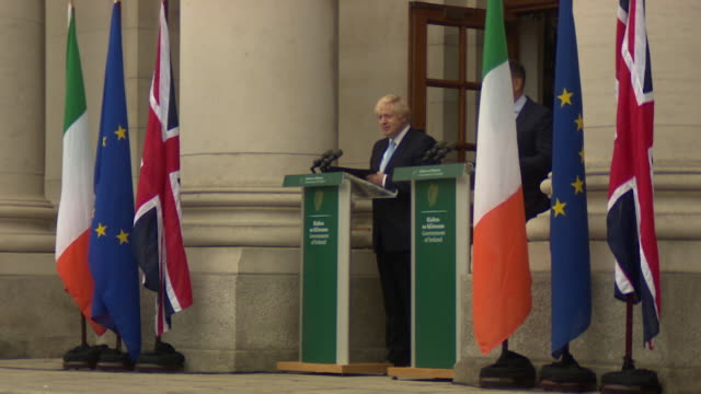 cutaways of press conference between irish taioseach leo varadkar and pm boris johnson during his visit to dublin - leo varadkar stock videos and b-roll footage