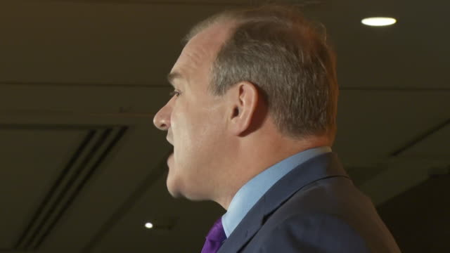 cutaways of sir ed davey giving his speech after being announced new leader of the liberal democrats, rival layla moran in audience - challenge stock videos & royalty-free footage
