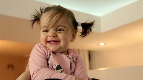 cute adorable baby girl in father arms - babies only stock videos & royalty-free footage