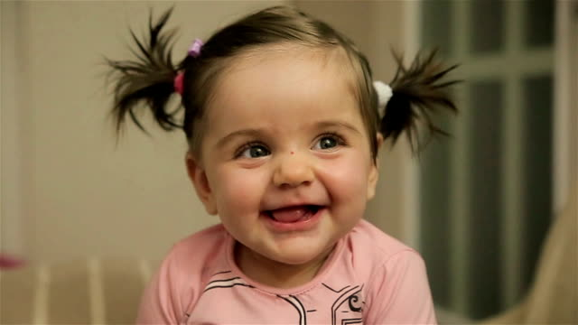 cute adorable baby girl - brown hair stock videos & royalty-free footage
