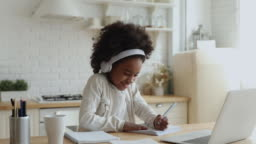 Cute african school girl elearning with online tutor at home