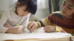 Cute and lovely asian girl doing homework at home, with a help of her mother.