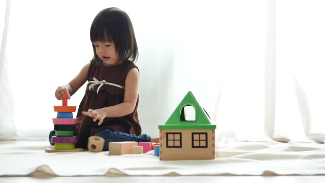 Cute Asian Children playing with blocks, Child Playing