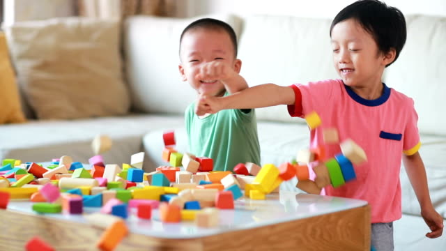 cute asian children playing with blocks - preschool student stock videos and b-roll footage