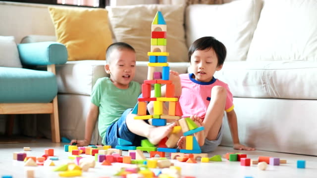 cute asian children playing with blocks - children only stock videos & royalty-free footage