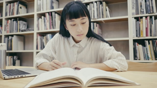 cute asian female student studies in the library - reusable stock videos & royalty-free footage