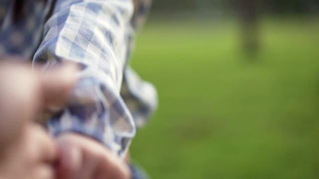 かわいいアジアの女の子は、国立グリーンパークで再生するために彼女の母親の手を引っ張っ.