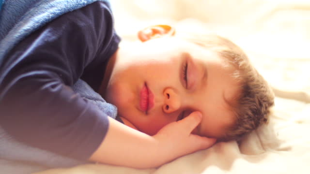 cute baby boy sleeping and wake up - good morning stock videos & royalty-free footage