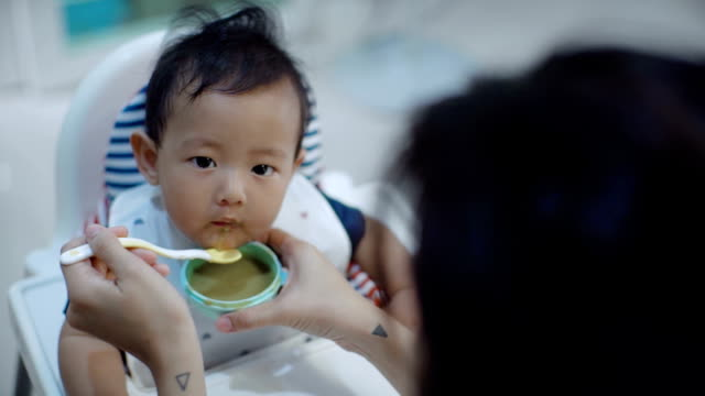 vídeos de stock e filmes b-roll de cute baby eating baby food - alimentar