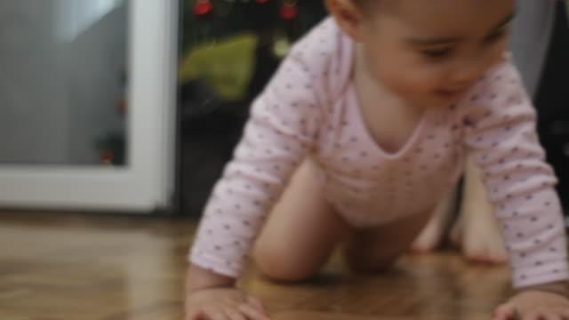 家でかわいい女の子 - 這う点の映像素材/bロール