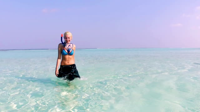 cute blonde girl on vacation, maldives - goggles sportswear stock videos and b-roll footage