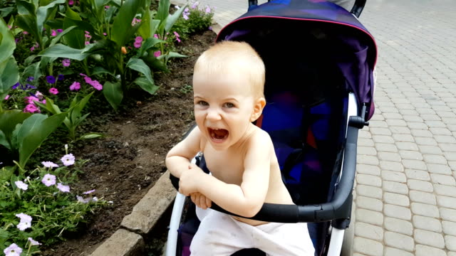 cute boy is riding in the stroller grimacing and laughing - grimacing stock videos and b-roll footage