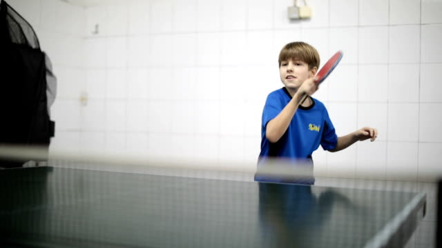 cute boy playing table tennis - table tennis stock videos & royalty-free footage
