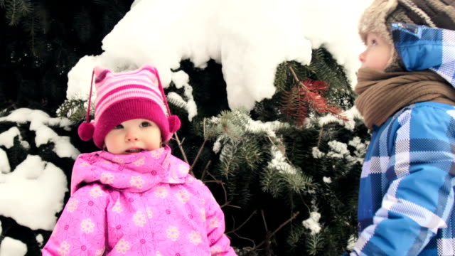 cute children in the winter - baby girls stock videos & royalty-free footage