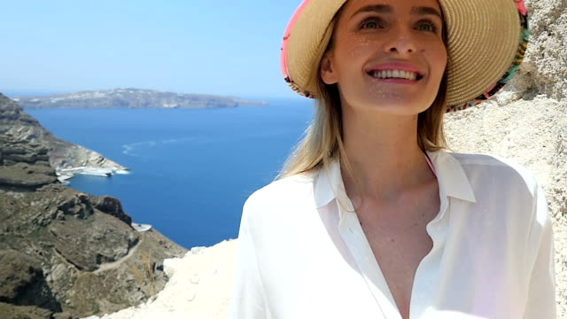 cute explorer in santorini - beautiful people stock videos & royalty-free footage