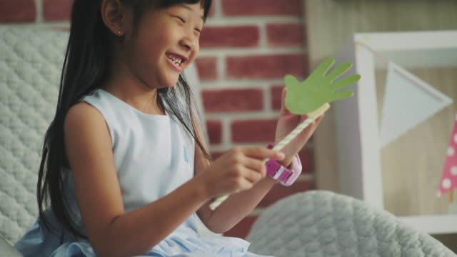 cute girl carry hand paper craft - drawing artistic product stock videos and b-roll footage