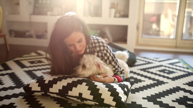 linda garota afagar o cachorro dela