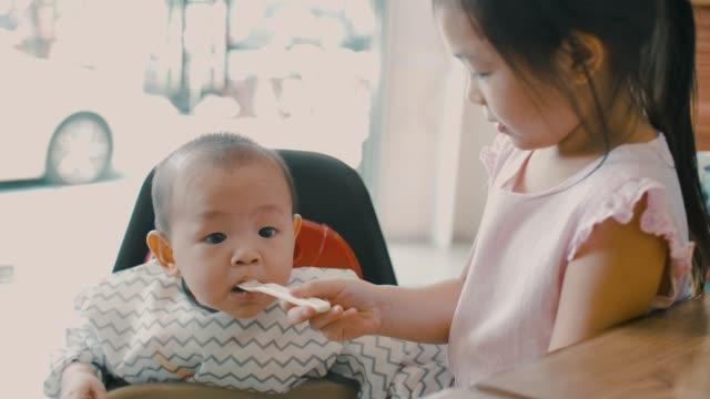 cute girl feeding her little brother - 6 11 mesi video stock e b–roll