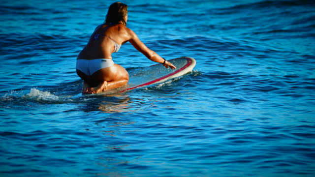 A cute girl paddles out in the ocean waves in the summer sunset in San Diego, California wearing a cute white bikini.