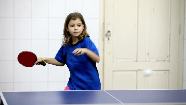 cute girl playing table tennis indoors - table tennis stock videos & royalty-free footage