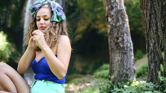 cute girl wearing stylish colorful boho style outfit - boho stock videos & royalty-free footage