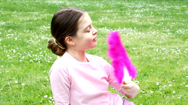 cute girl with pink fan. - hand fan stock videos and b-roll footage