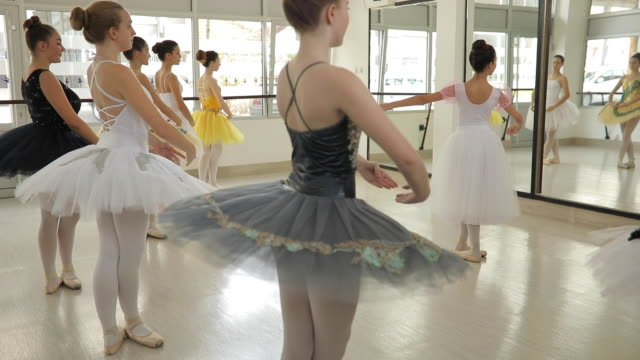 cute girls ballet dancers practicing - ballet studio stock videos and b-roll footage
