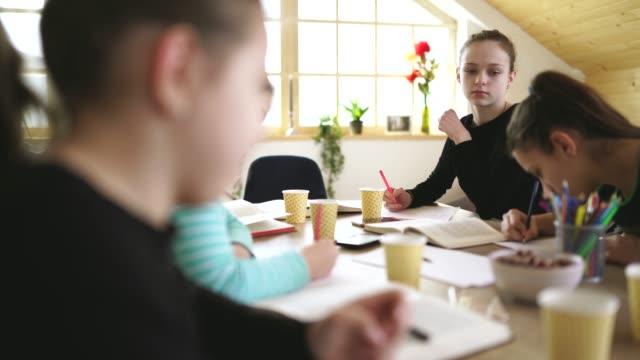 vidéos et rushes de étudiants mignons de filles sur la classe privée à la maison - cours de mathématiques
