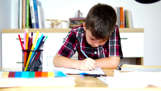 cute little boy doing his homework - solo un bambino maschio video stock e b–roll