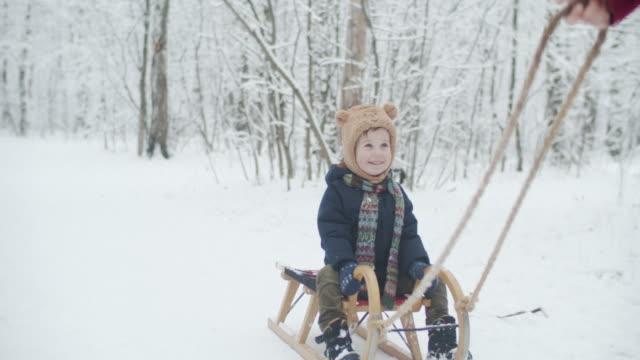 nette kleine junge reiten auf schlitten im winterpark zieht von seinem vater - vorschulkind stock-videos und b-roll-filmmaterial