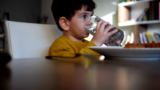 cute little boy water - drinking stock videos & royalty-free footage